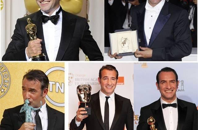 Jean Dujardin càn quét hầu hết các giải thưởng quan trọng của năm 2011. Ảnh: Reuters / GettyImage / AP