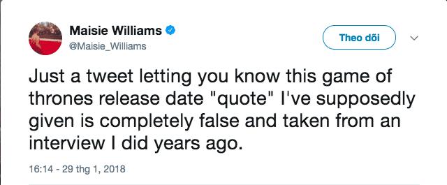 """(Tạm dịch: Tui tweet để nhắc các bạn rằng """"câu trích dẫn"""" về ngày ra mắt của Game of Thrones trong bài phỏng vấn của tui là sai rành rành ra mà nó còn xảy ra tận một năm trước nữa chứ)"""